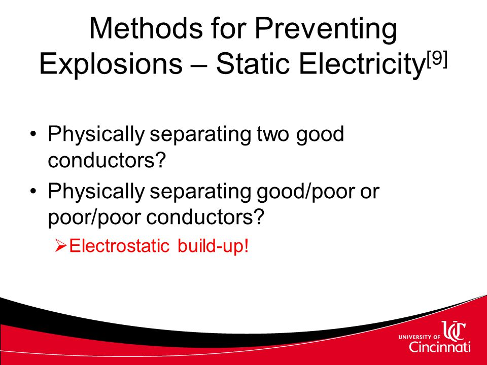 Methods for Preventing Explosions – Static Electricity[9]